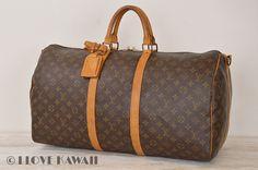 Louis Vuitton Monogram Keepall 55 Bandouliere Travel Bag M41414