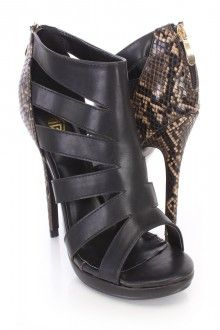 Black Cut Out Animal Print Heel Booties Faux Leather