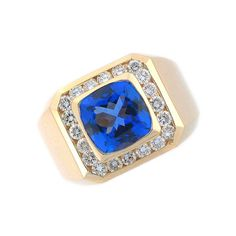 tanzanite and diamond men's ring