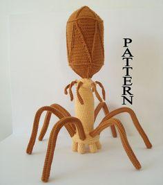 Bacteriophage Virus Digital File Crochet Pattern Amigurumi Adobe Pdf on etsy Crochet Patterns Amigurumi, Crochet Toys, Crochet Animals, Knitting Patterns, Knit Crochet, Chrochet, Crochet Geek, Crochet Things, Crochet Stitches