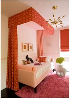Great mid century modern twist on a classic canopy; orange & green decor for a nap or guest area