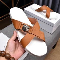 Cheap Versace Leather Cross Slides on sale here. Welcome to shop, sandals Store is your best choice. Leather Slippers, Mens Slippers, Leather Sandals, Sandals 2014, Men Sandals, Nigerian Men Fashion, Sandal Price, Slipper Sandals, Bare Foot Sandals