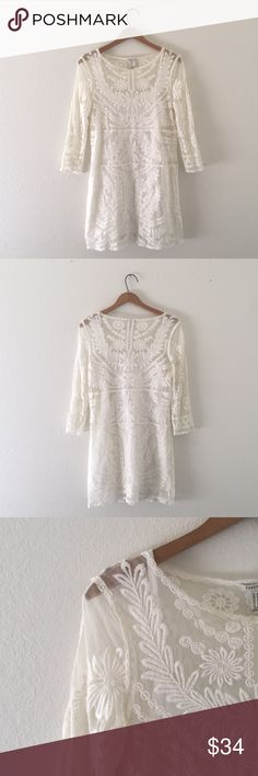 [F21] Boho Hippie Lace Dream - Forever 21 LA - Size medium. - 10/10 like new condition.  Gorgeous lace dress that comes with a slip for underneath. Sturdy lace & not flimsy. Perfect for this Summers music festivals or a night out with your special human.   Absolutely all reasonable offers are more than welcome. Bundle & save! Forever 21 Dresses
