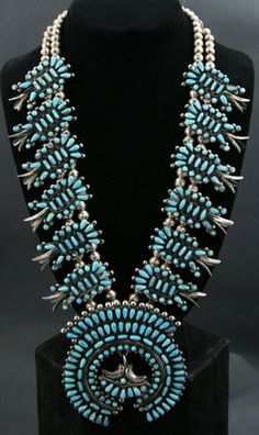 Wilford Begay (b. 1965) - Navajo Turquoise Petit Point and Silver Squash Blossom Necklace. www.medicinemangallery.com