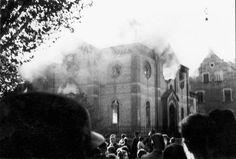 Ludwigsburg, Germany, 1938, A synagogue ablaze on Kristallnacht.
