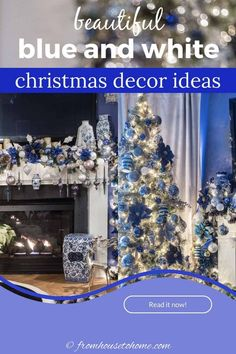 These blue and white indoor Christmas decorating ideas are so elegant! The Christmas tree decorations look gorgeous in the living room and the table setting is beautiful. #fromhousetohome #christmas #christmasdecor #blueandwhite #christmasdecoratingideas #bluechristmasdecor Blue Christmas Decor, Christmas Decorations For The Home, Christmas Table Settings, White Christmas, Christmas Home, Christmas Fireplace Mantels, Fireplace Mantle, Haunted House Decorations, Beautiful Christmas Trees