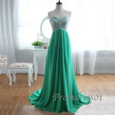 2014 elegant sweetheart strapless green long sweep prom dress, grad dress, ball gown, evening dress, winter formal #promdress #coniefox #2016prom