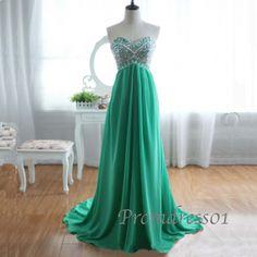2014 elegant sweetheart strapless green long sweep prom dress, grad dress, ball gown, evening dress, winter formal #promdress #coniefox #2016prom
