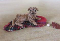 Dollhouse Miniature dog 1:12 ~ Shar pei Dog  OOAK Handmade Igma Artisan JParrott