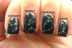 Constellation Nails. Click through to see them without the lines.
