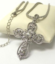 Cross rhinestone necklace - Sass N Frass 9/18/15 Beautiful, and the shipping is free today! http://www.sassnfrass.net/cross-rhinestone-necklace/