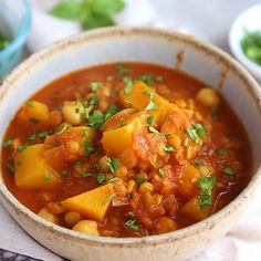Butternut Squash Chickpea Lentil Moroccan Stew A healthy moroccan-spiced vegetarian stew made with chickpeas, butternut squash, and lentils! You'll love this filling meal! Healthy Soup Recipes, Veggie Recipes, Indian Food Recipes, Whole Food Recipes, Cooking Recipes, Dinner Recipes, Simple Recipes, Moroccan Food Recipes, Cooking Tips