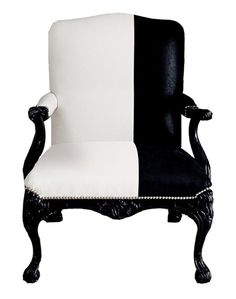 black and white armchair, classical armchair. Too expensive for me, but it's just soo gorgeous. Funky Furniture, Furniture Makeover, Furniture Design, Pipe Furniture, Chair Design, Furniture Chairs, Black Furniture, White Armchair, Black And White Chair