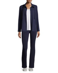 High-Collar Stretch Jersey Jacket, Sleeveless Scoop-Neck Tee & Stretch Jersey Yoga Pants by Eileen Fisher at Neiman Marcus.