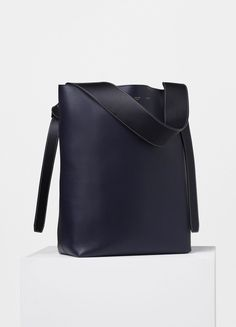 Small Twisted Cabas in Navy and Dark Green Shiny Smooth Calfskin - Céline