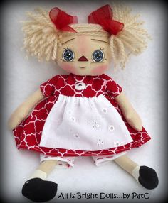 Primitive Raggedy Annie Doll by Allisbright on Etsy