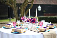 Lovely outside table's decoration of the Canterbury's Wedding. http://bluedoveweddings.co.uk/