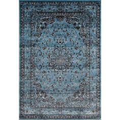 Persian Rugs Antique Styled Multi Colored Blue Base Area Rug (5'2 x 7'2)
