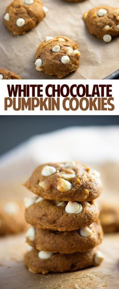 These moist pumpkin cookies are studded with white chocolates. They're soft, like a sweet pumpkin bread.
