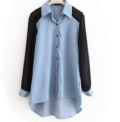 To find out about the Light-blue Lapel Patchwork Chiffon Denim Shirt at SHEIN, part of our latest Blouses ready to shop online today! Blue Denim Shirt, Chambray Shirts, Collared Shirts, Denim Blouse, Denim Jeans, Light Blue Shirts, Mode Hijab, Wearing Black, Refashion
