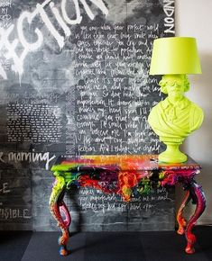 Brightening up your interiors since Our graffiti wallpaper is available by order and has become an instant classic. Graffiti Furniture, Funky Furniture, Furniture Makeover, Painted Furniture, Furniture Design, Decoration Baroque, Graffiti Wallpaper, Graffiti Art, Interior Inspiration