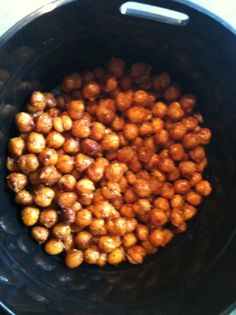 Roasted chic peas with chili powder and Olive oil. Bake for 30 minutes at 400*