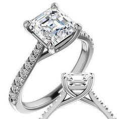 2.25ct Asscher Cut Engagement Ring, Solitaire Eternity Band, Moissanite Engagement Ring, 14k White Gold Ring Latest Ring Designs, Asscher Cut Diamond Engagement Ring, Gold Ring Designs, Best Engagement Rings, Pretty Rings, Eternity Bands, White Gold Rings, Interior Designing, Modern Interior