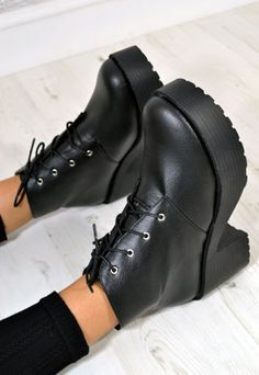 Women's High Heel Platform Lace Up Ankle Boots in BLACK from NaomiShu