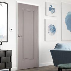 Eindhoven 1 Panel Grey Primed Internal Door is Hour Fire Rated Grey Doors, Oak Doors, Panel Doors, Bathroom Door Handles, Bathroom Doors, Pine Internal Doors, Fire Rated Doors, Primed Doors, Door Fittings