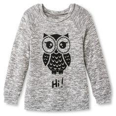 Girls' Miss Chevious Owl Long Sleeve Pullover-Grey