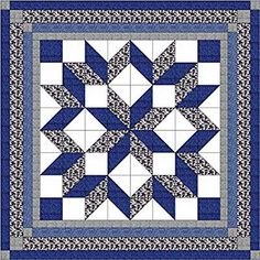 Easy Quilt Kit Carpenters Wheel/ Blue/Black and Gray Camo-Expedited Shipping: Easy Carpenters Wheel kit, X ready to sew pattern and instructions included. Precut Dye cut to precision. Big Block Quilts, Star Quilt Blocks, Lap Quilts, Small Quilts, Mini Quilts, Half Square Triangle Quilts, Square Quilt, Quilting Projects, Quilting Designs