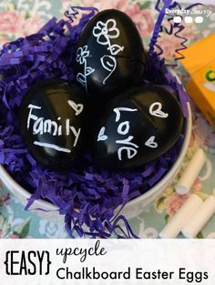 How to upcycle plastic Easter eggs in to cute chalkboard Easter egg decorations. Easy DIY craft chalkboard Easter eggs.