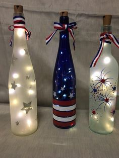icu ~ Pin on DIY and crafts ~ Your stockpile of empty wine bottles is steadily growing? Then now is a good time as any to transform them into something pretty with these wine bottle crafts with lights. Empty Wine Bottles, Wine Bottle Art, Painted Wine Bottles, Lighted Wine Bottles, Bottle Lights, Decorative Wine Bottles, Wine Glass, Christmas Wine Bottles, Decorated Bottles