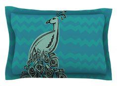 Peacock Blue II by Brienne Jepkema Green Cotton Pillow Sham
