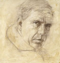 Daan van Doorn - Portrait of Gerard Reve (mixed media on panel); Date of Birth / Place: 1958;  Education: Art Academy Rotterdam