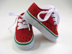 Girls Watermelon Shoes Hand Painted Toddler or Baby Canvas Kids Sneakers. $24.00, via Etsy.