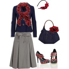 Gray skirt, navy shirt, red ruffle scarf, adorable navy and red striped heels