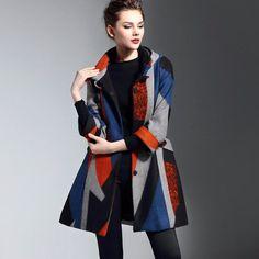Luxury High-End Fashion Designer Argyle Print Hooded Women's Winter Swing Coat M-5XL