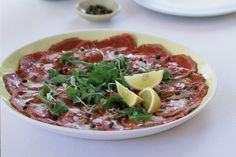 Beef carpaccio makes an elegant starter for your gourmet dinner party.