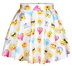 Handu Women's 3 Digital Printed Stretch Pleated Mini Emoji Skater Skirt