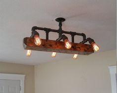 Distressed Wood Beam Chandelier Ceiling Pipe by RuralIndustrial