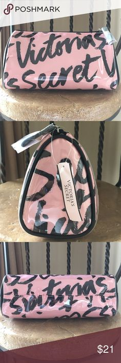 "VS Makeup Bag Glamorous in signature VS stripes, it's the perfect case to store all your beauty essentials and ready for any adventure. Oh, and it's super easy to clean. Just wipe inside with a warm, damp cloth. 9""L x 3 1/4""W x 4 3/4 ""H Victoria's Secret Bags Cosmetic Bags & Cases"