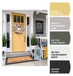 Paint colors from ColorSnap by Sherwin-Williams Colors For Front Doors, Yellow Front Doors, Painted Front Doors, Exterior House Colors Combinations, Exterior Paint Colors For House, Paint Colors For Home, Grey Houses, Yellow Houses, House Front