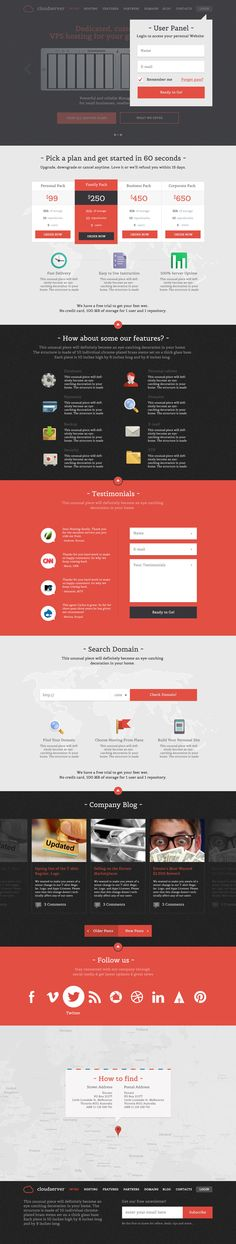 CloudServer WP - One Page Responsive Hosting Them by prestigedesign on deviantART