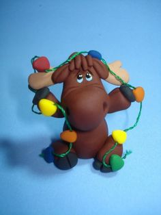 Moose with Christmas Lights Clay Figurine