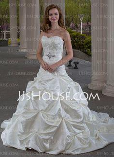 Wedding Dresses - $219.99 - Ball-Gown Sweetheart Chapel Train Satin Wedding Dress With Ruffle Lace Beadwork (002000432) http://jjshouse.com/Ball-Gown-Sweetheart-Chapel-Train-Satin-Wedding-Dress-With-Ruffle-Lace-Beadwork-002000432-g432