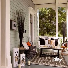 Halloween Porch Decor — Four scary-easy ways to dress up your porch for Halloween! From HGTV and At Home.