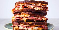 This Reuben sandwich recipe makes enough for one sandwich, including the Russian dressing. Just scale it up to make more sandwiches, and any extra dressing will keep in the fridge. If your meat is … Easy Sandwich Recipes, Lunch Recipes, Meat Recipes, Cooking Recipes, Panini Recipes, Sandwich Ideas, Quesadilla Recipes, Savoury Recipes, Cooking Ideas