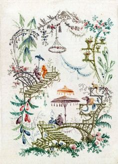 antique chinoiserie wallpaper illustration door FrenchFrouFrou