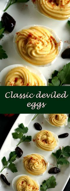 Classic deviled eggs, a delightful appetizer not only for Easter, but great for any party, picnic or family reunion.
